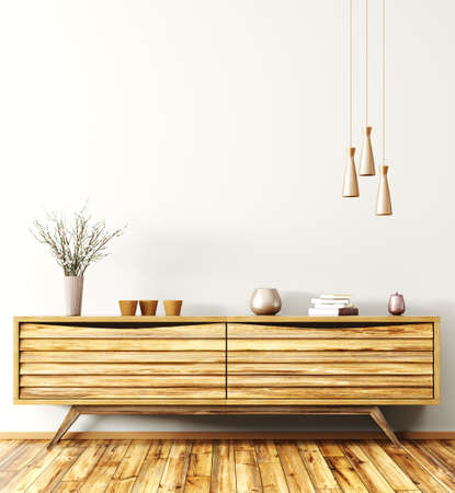 Modern interior of living room with wooden sideboard 3d rendering