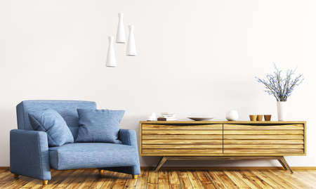 Modern interior of living room with wooden cabinet and blue armchair 3d rendering Stockfoto