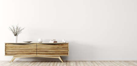 Modern interior of living room with wooden dresser over white wall panorama 3d rendering Stockfoto
