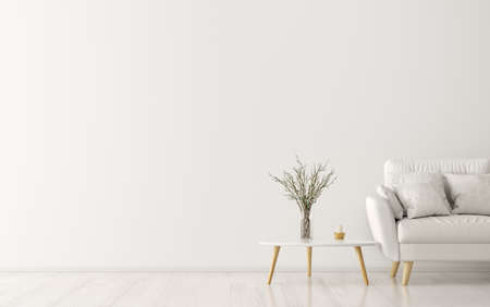 Interior of living room with wooden triangular coffee table and white sofa, scandinavian style, 3d rendering