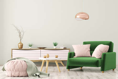 Modern interior of living room with wooden dresser, brown armchair and ottoman over green wall 3d rendering Stockfoto