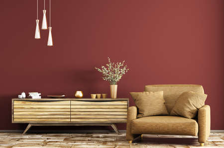 Modern interior of living room with wooden dresser and brown armchair over red wall 3d rendering Stockfoto