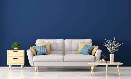 Interior of living room with gray sofa, wooden coffee table with vase with branch and side table over blue wall 3d rendering