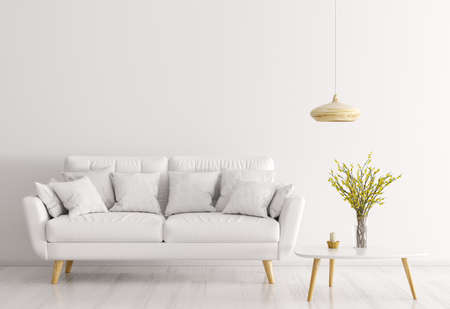 Modern interior of living room with white sofa, wooden coffee table and lamp 3d rendering