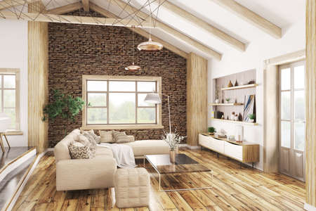 Modern interior of house, living room with beige sofa 3d rendering Stockfoto