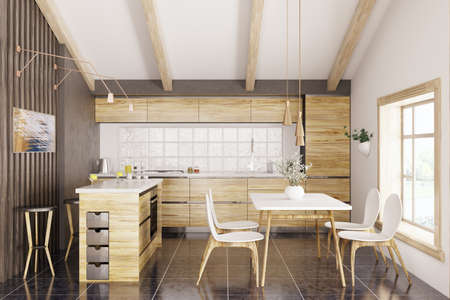 Modern kitchen with white granite counter, window,table and chairs interior 3d rendering Stockfoto