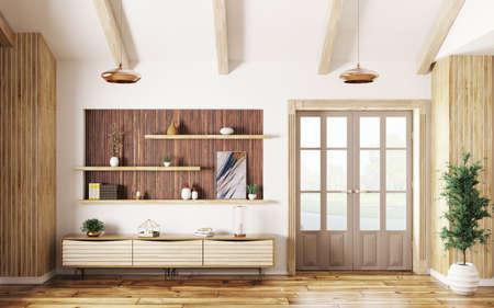 Modern interior of living room with wooden sideboard and door 3d rendering Stockfoto