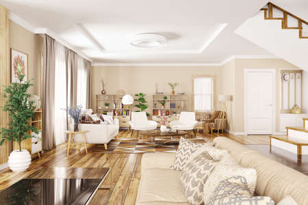 Modern interior of house, hall, living room with sofa and armchairs 3d rendering