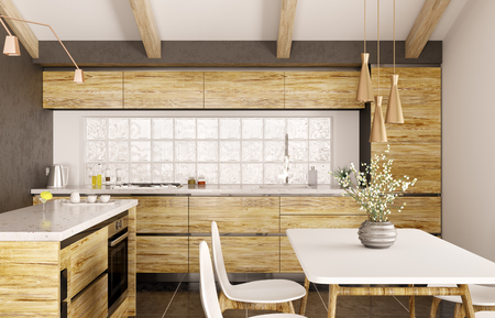 Modern interior design of wooden kitchen with island, white marble counter, window, table and chairs 3d rendering Stockfoto