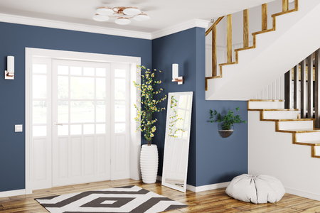 Interior design of modern entrance hall with door and staircase 3d rendering Stockfoto