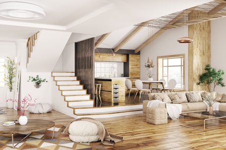 Modern interior design of house, kitchen, living room with sofa, hall, staircase 3d rendering