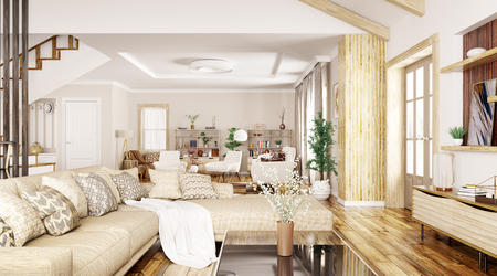 Modern interior design of house, hall, living room with sofa and armchairs 3d rendering Stockfoto