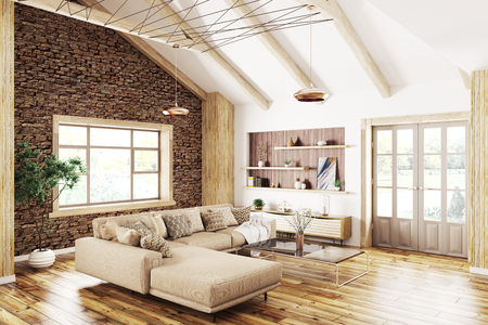 Modern interior design of house, living room with beige sofa 3d rendering Stockfoto