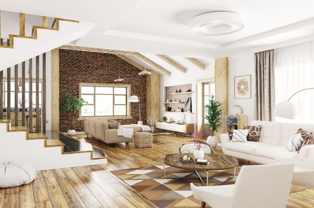 Modern interior design of house, living room with sofa and armchairs,staircase 3d rendering Stockfoto