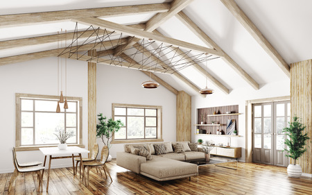 Modern interior of house, living room with sofa, 3d rendering Stockfoto