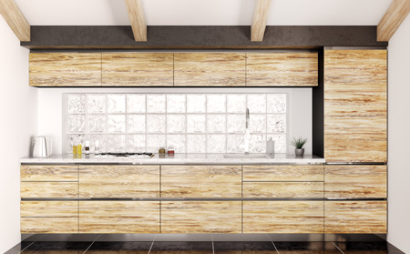 Modern wooden kitchen with white stone counter interior 3d rendering