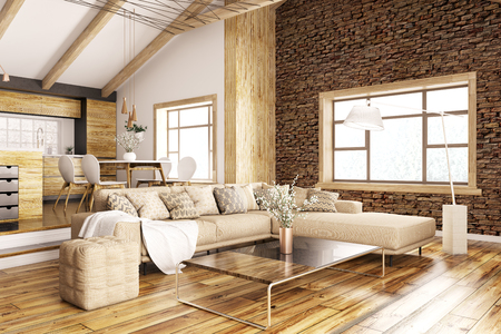 Modern interior of house, kitchen, living room with sofa 3d rendering Stockfoto