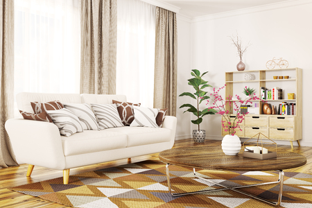Modern interior of living room with white sofa and coffee table 3d rendering Stockfoto