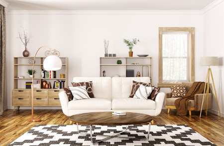 Modern interior design of house, living room with beige sofa,coffee table 3d rendering