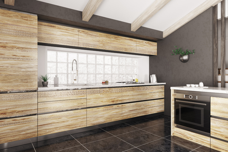 Modern interior of wooden kitchen with white stone counter 3d rendering