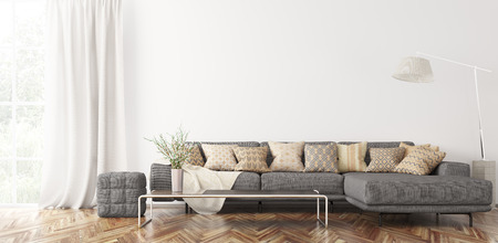 Modern interior of living room with gray corner sofa, coffee table 3d rendering