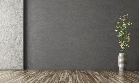 Empty room interior background, black stucco wall, vase with branch 3d rendering Stockfoto