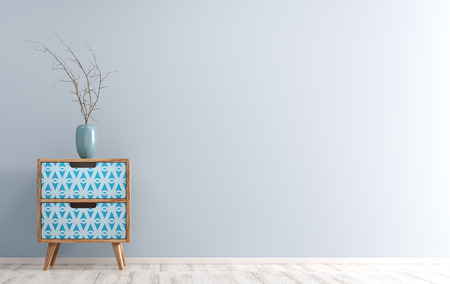 Interior background of living room with wooden side table and vase with branch on it over blue wall 3d render