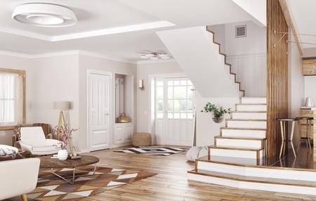 Modern interior of house, hall, living room 3d rendering