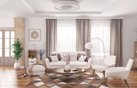Modern interior of living room with white sofa, armchairs  and coffee table 3d rendering Stockfoto