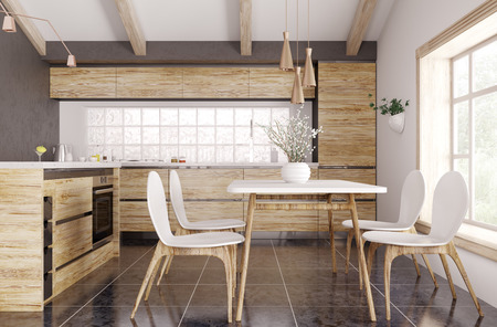 Modern interior of wooden kitchen with window, yellow and white table and chairs 3d rendering Stockfoto