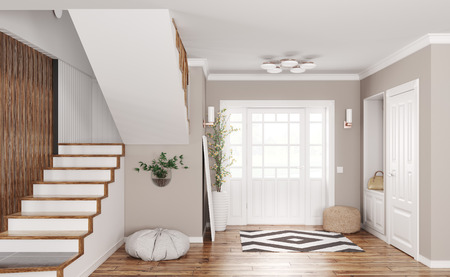 Interior of modern entrance hall with doors and staircase 3d rendering Stockfoto