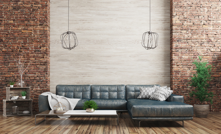 Modern interior of loft apartment, living room with blue shabby leather sofa over wooden and brick wall 3d rendering Stockfoto