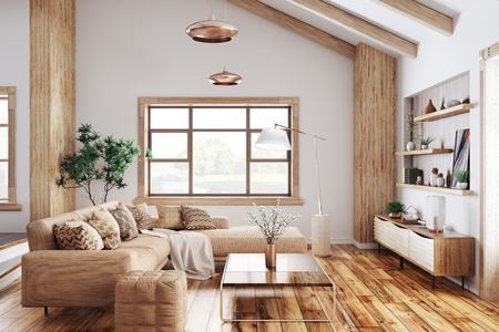 Modern interior of living room with beige sofa 3d rendering Stockfoto
