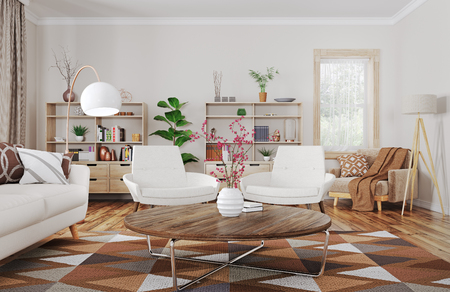 Modern interior design of house, living room with sofa and armchairs 3d rendering