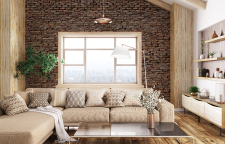 Modern interior of living room with beige sofa 3d rendering Stockfoto