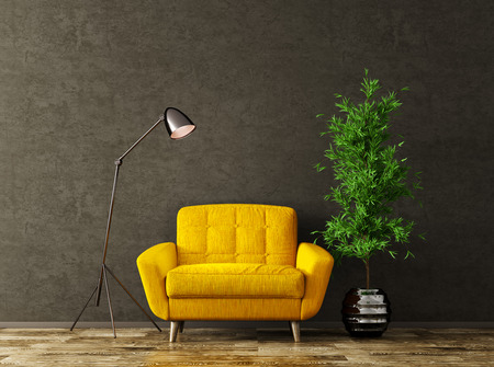 Interior of living room with floor lamp and yellow armchair over black stucco wall 3d rendering Stockfoto