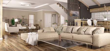 Modern interior design of house, kitchen, living room with sofa, hall, staircase panorama 3d rendering Stockfoto