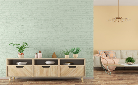 Modern pastel colored interior of living room with wooden sideboard over light green brick wall and sofa 3d rendering