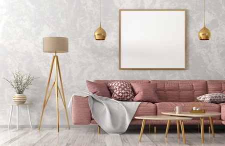 Interior of living room with pink sofa, wooden coffee tables floor lamp and poster 3d rendering Stockfoto