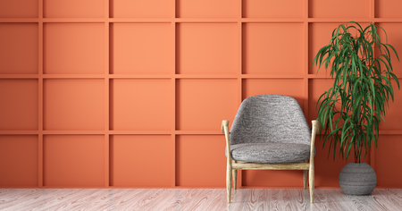 Interior background of living room with gray armchair over coral paneling wall 3d rendering