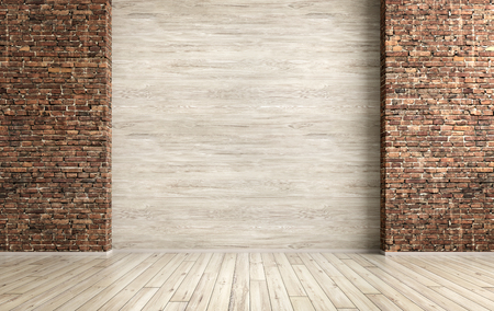 Empty interior grunge background, room with brick and wooden wall 3d rendering Stockfoto
