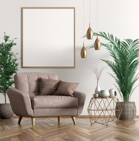 Interior of living room with copper coffee table, beige armchair and poster on the white wall 3d rendering