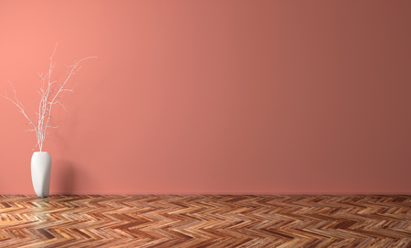 Empty living room with coral wall interior background, white vase with branch on the wooden floor 3d rendering Stockfoto