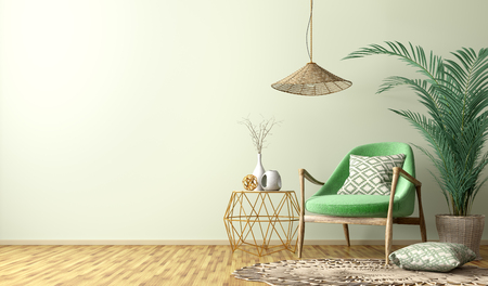 Interior of living room with golden coffee table,  green armchair, home design 3d rendering