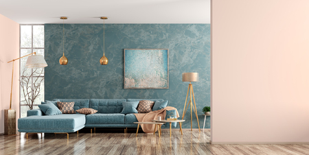 Modern interior of living room with blue corner sofa, coffee tables, floor lamp, wall with copy space 3d rendering