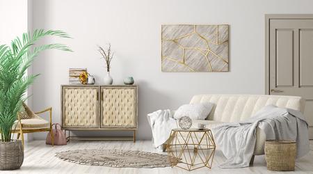 Modernes Interieur des Wohnzimmers mit Sofa, Tür und Schrank, 3D-Rendering des Wohndesigns