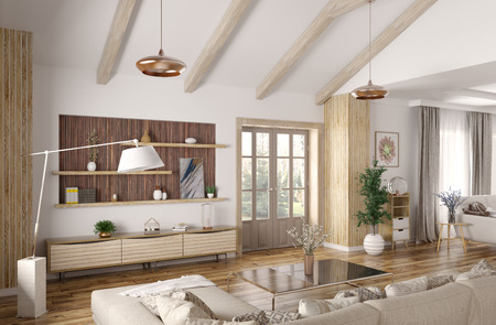 Modern interior design of house, hall, living room with sofa 3d rendering