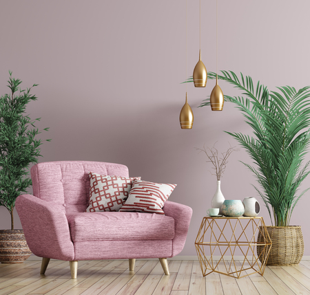 Interior of living room with golden coffee table, pink armchair, home design 3d rendering