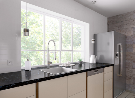 Interior of modern kitchen with black granite counter, refrigerator 3d render Stockfoto