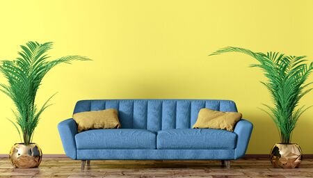 Modern interior of living room with blue sofa and two palms over yellow wall 3d rendering